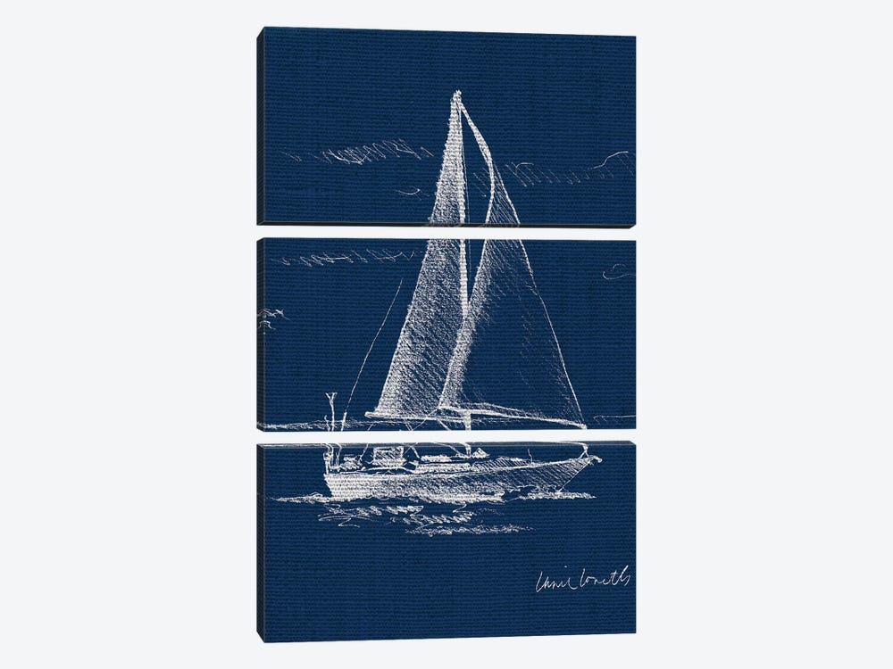 Sailboat on Blue Burlap I by Lanie Loreth 3-piece Canvas Print