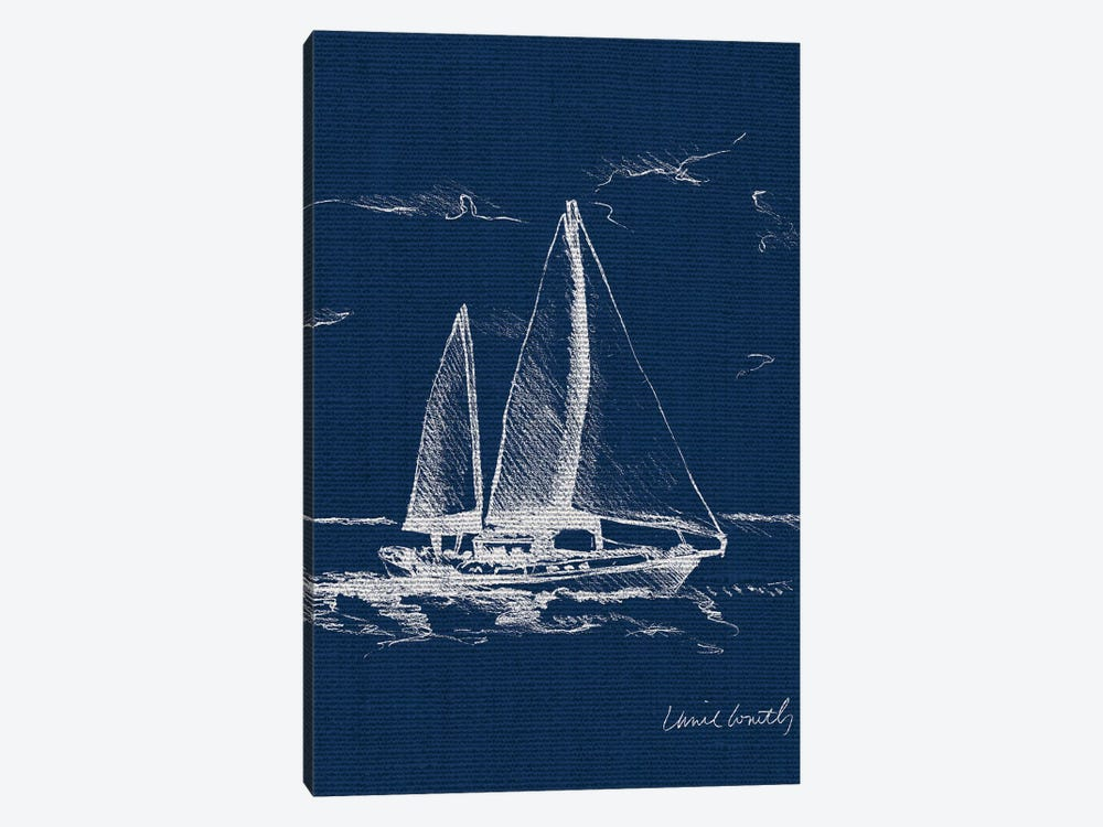 Sailboat on Blue Burlap II by Lanie Loreth 1-piece Canvas Artwork