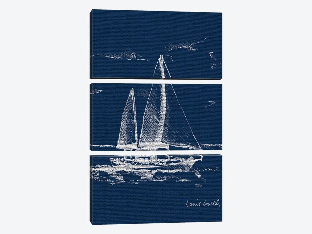 Sailboat on Blue Burlap II by Lanie Loreth 3-piece Canvas Artwork
