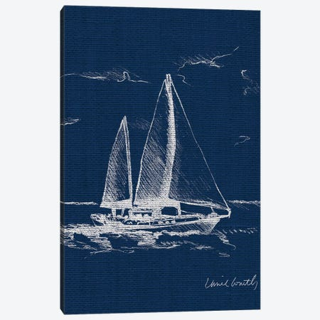 Sailboat on Blue Burlap II Canvas Print #LNL167} by Lanie Loreth Art Print