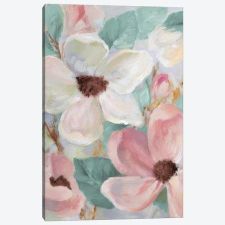 Silently Bloom Teal I Canvas Print #LNL174} by Lanie Loreth Canvas Wall Art