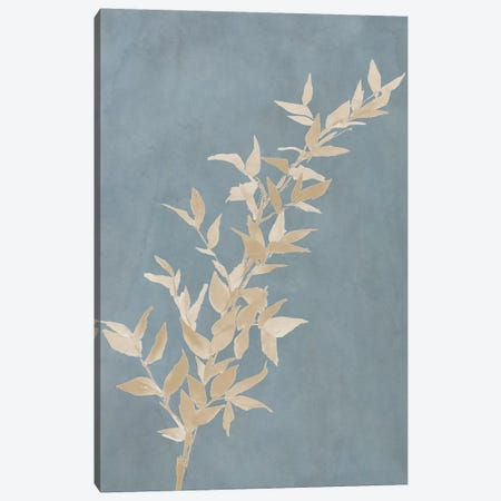 Tan Leaf on Blue II Canvas Print #LNL206} by Lanie Loreth Canvas Wall Art