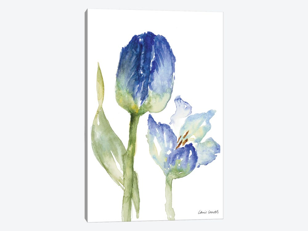 Teal and Lavender Tulips I 1-piece Canvas Art
