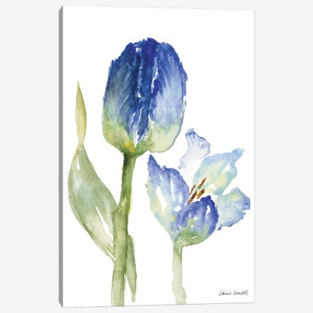 Teal and Lavender Tulips I Canvas Print #LNL207} by Lanie Loreth Canvas Wall Art