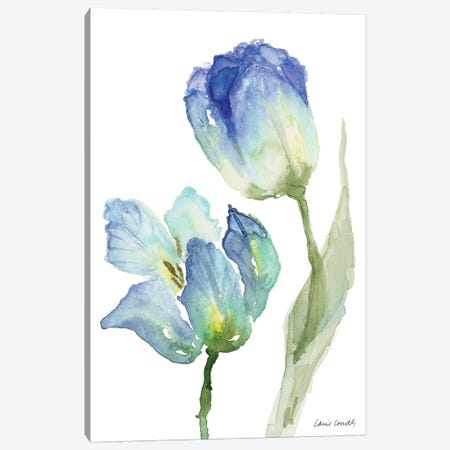 Teal and Lavender Tulips III Canvas Print #LNL209} by Lanie Loreth Canvas Art Print