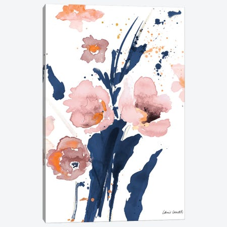 Watercolor Pink Poppies I Canvas Print #LNL235} by Lanie Loreth Canvas Print