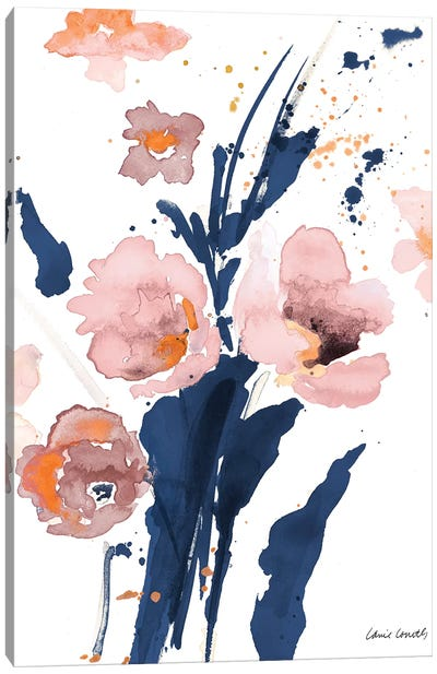 Watercolor Pink Poppies I Canvas Art Print