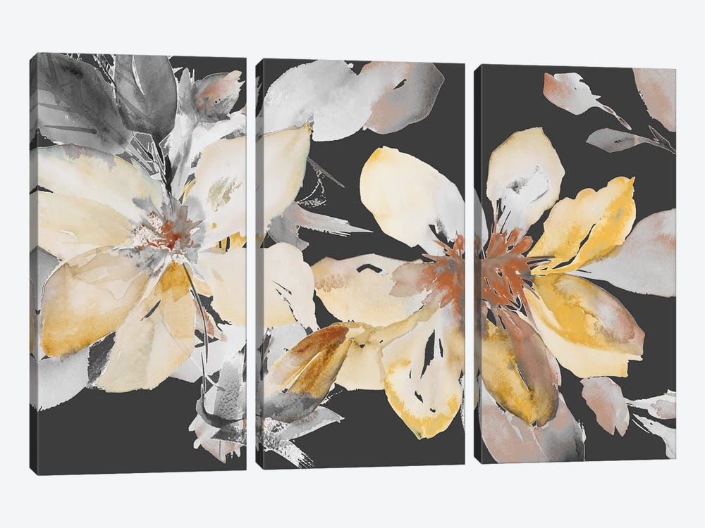 Yellow Clematis on Grey by Lanie Loreth 3-piece Canvas Print