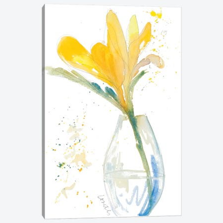 Yellow Flowers in Clear Vase Canvas Print #LNL243} by Lanie Loreth Canvas Art Print