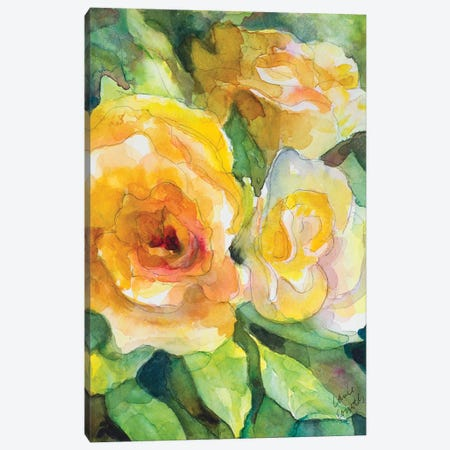Yellow Roses Garden Canvas Print #LNL244} by Lanie Loreth Canvas Wall Art