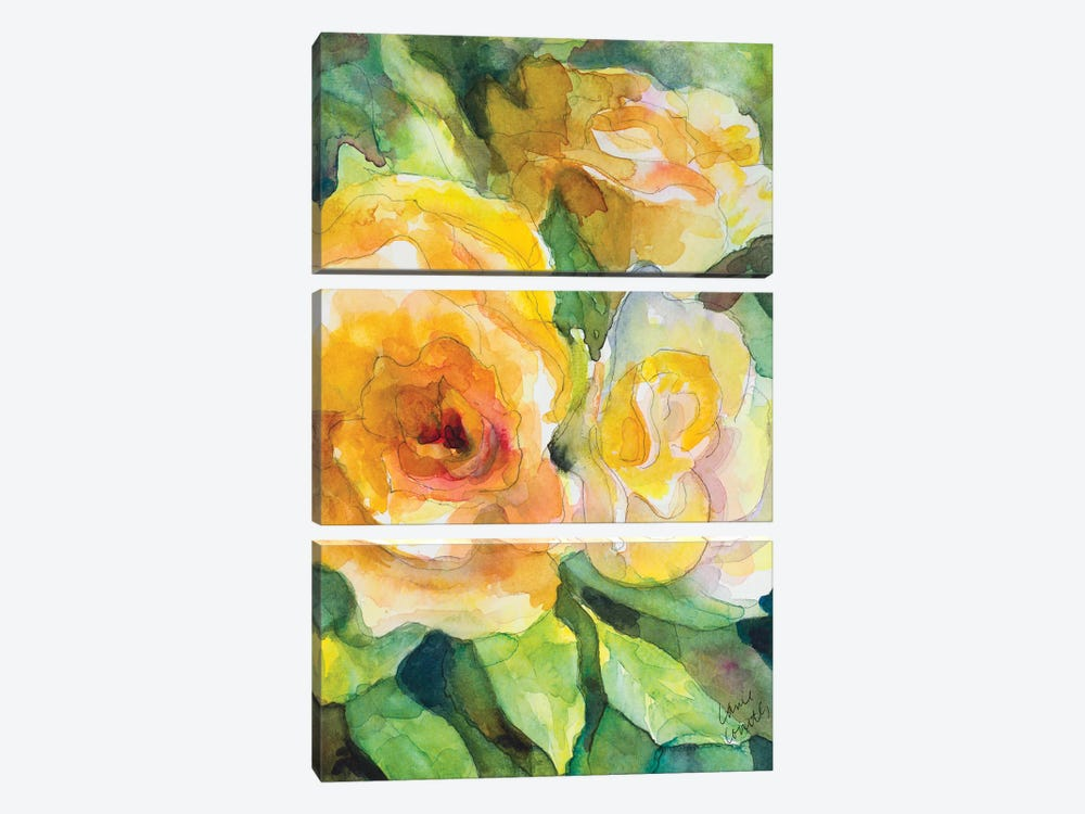 Yellow Roses Garden 3-piece Canvas Print
