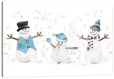 Blue Snowman Trio Canvas Art Print