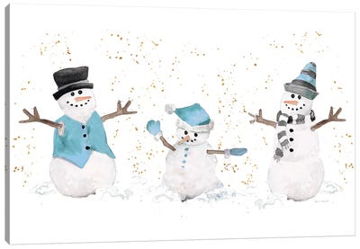 Blue Snowman Trio Canvas Art Print