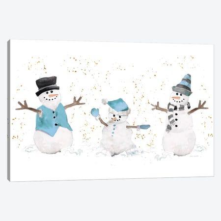Blue Snowman Trio Canvas Print #LNL246} by Lanie Loreth Canvas Wall Art