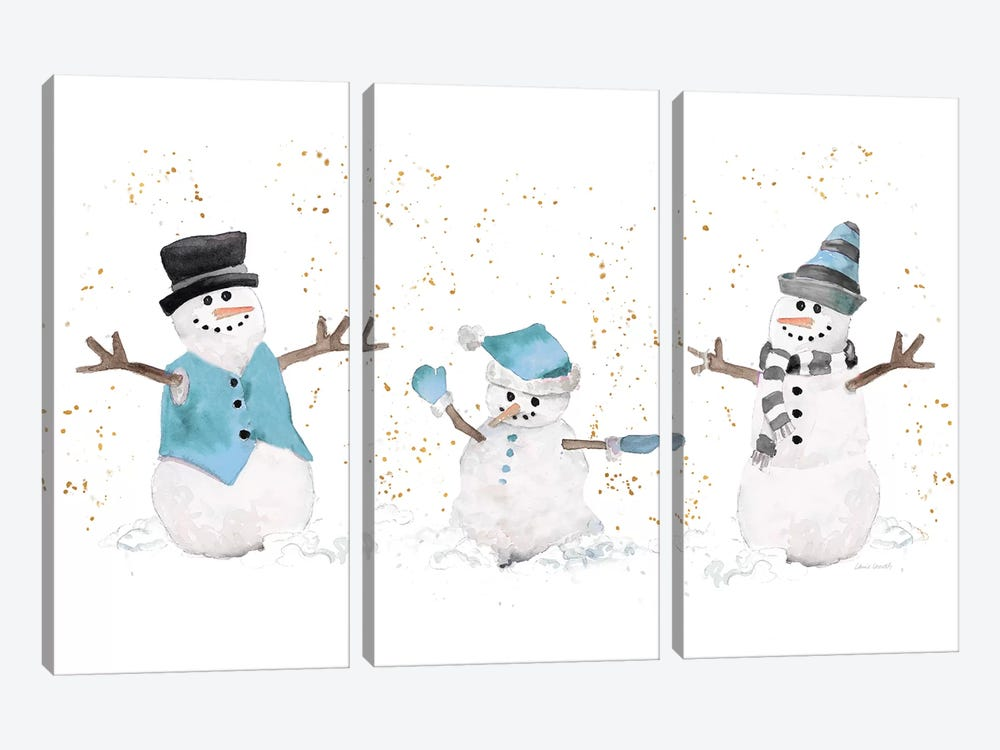 Blue Snowman Trio by Lanie Loreth 3-piece Canvas Print