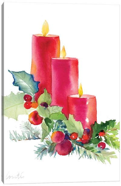 Candles with Holly Canvas Art Print