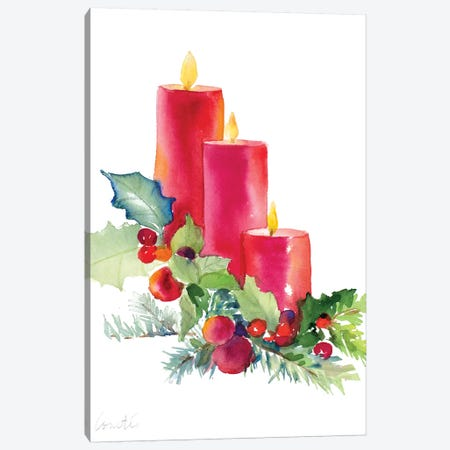 Candles with Holly Canvas Print #LNL247} by Lanie Loreth Canvas Art