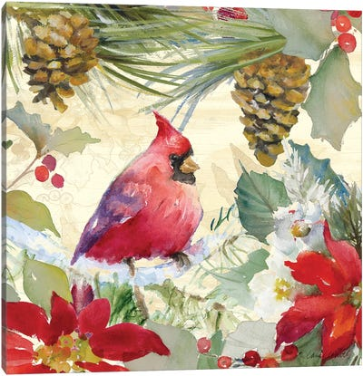 Cardinal and Pinecones I Canvas Art Print