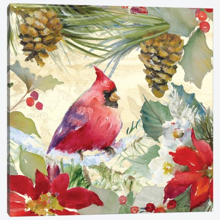 Cardinal and Pinecones I Canvas Print #LNL248} by Lanie Loreth Art Print