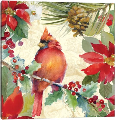 Cardinal and Pinecones II Canvas Art Print