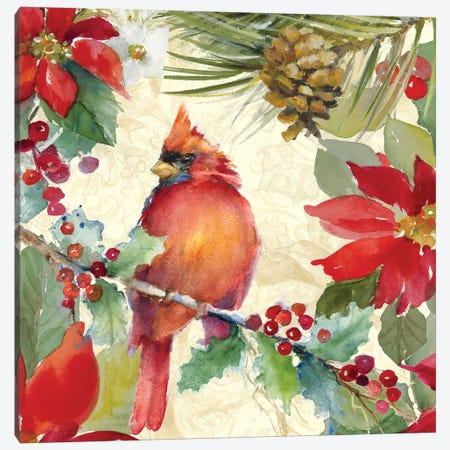 Cardinal and Pinecones II Canvas Print #LNL249} by Lanie Loreth Canvas Art Print