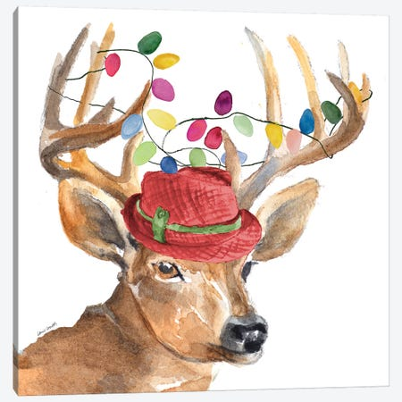 Christmas Light Reindeer Hat Canvas Print #LNL253} by Lanie Loreth Canvas Wall Art