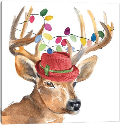 Christmas Light Reindeer Hat Canvas Art Print