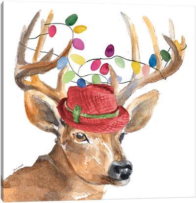Christmas Light Reindeer Hat Canvas Art Print