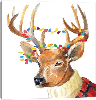 Christmas Lights Reindeer Sweater Canvas Art Print