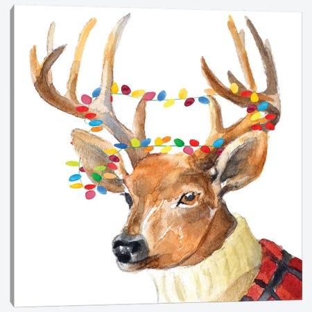 Christmas Lights Reindeer Sweater Canvas Print #LNL254} by Lanie Loreth Canvas Art Print