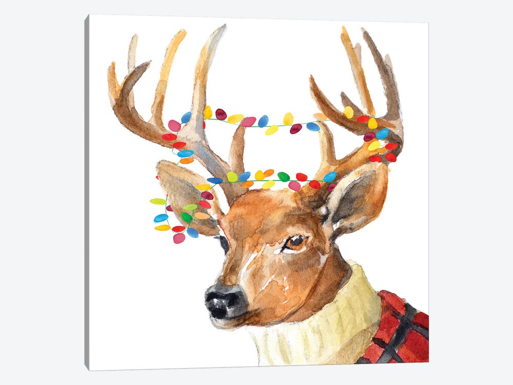 Christmas Lights Reindeer Sweater by Lanie Loreth 1-piece Canvas Artwork