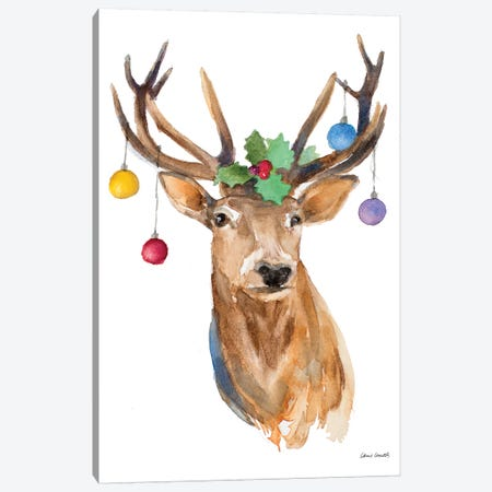 Deer with Holly and Ornaments Canvas Print #LNL258} by Lanie Loreth Canvas Art