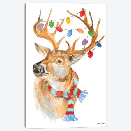 Deer with Lights and Scarf Canvas Print #LNL259} by Lanie Loreth Canvas Wall Art