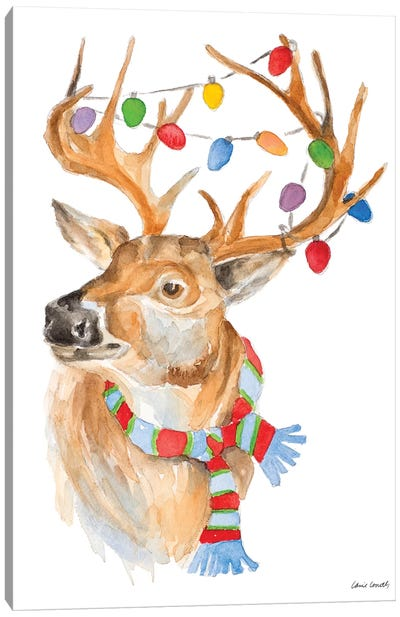 Deer with Lights and Scarf Canvas Art Print
