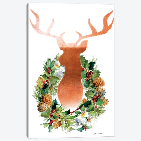 Holiday Wreath with Deer Canvas Print #LNL260} by Lanie Loreth Canvas Print