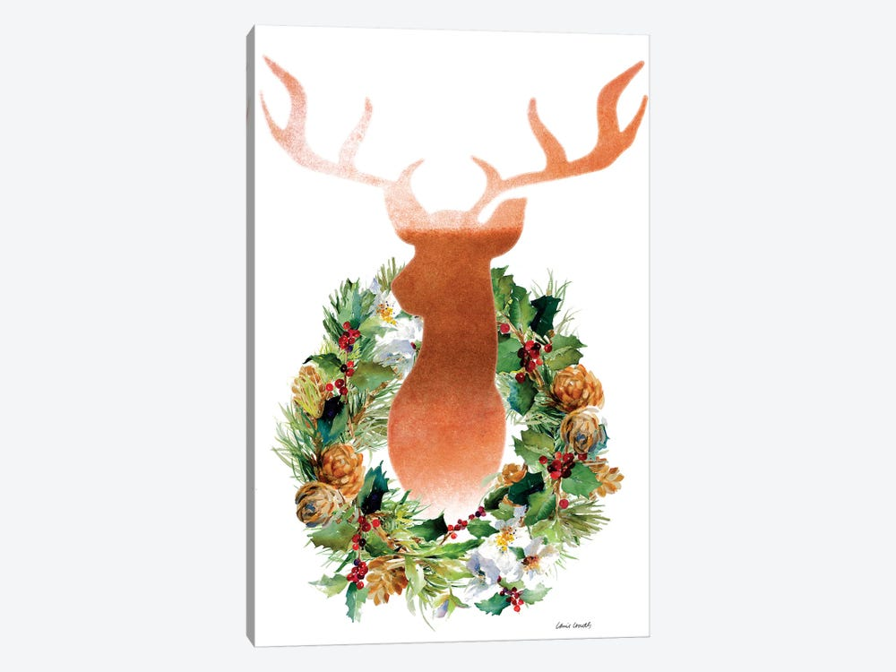 Holiday Wreath with Deer by Lanie Loreth 1-piece Canvas Print