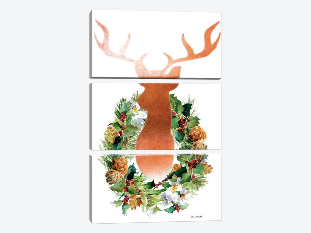 Holiday Wreath with Deer by Lanie Loreth 3-piece Canvas Art Print