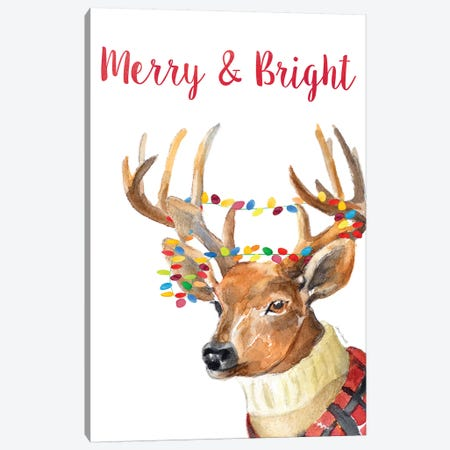 Merry and Bright Reindeer Canvas Print #LNL261} by Lanie Loreth Canvas Print