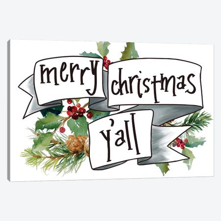 Merry Christmas Y'all Canvas Print #LNL262} by Lanie Loreth Art Print