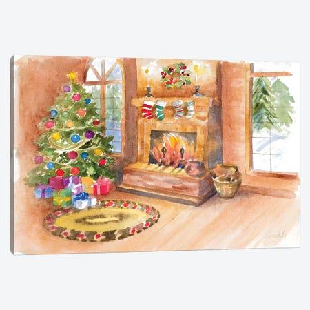 Santa's Fireplace and Tree Scene Canvas Print #LNL267} by Lanie Loreth Canvas Art
