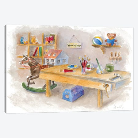 Santa's Workshop Scene Canvas Print #LNL268} by Lanie Loreth Art Print