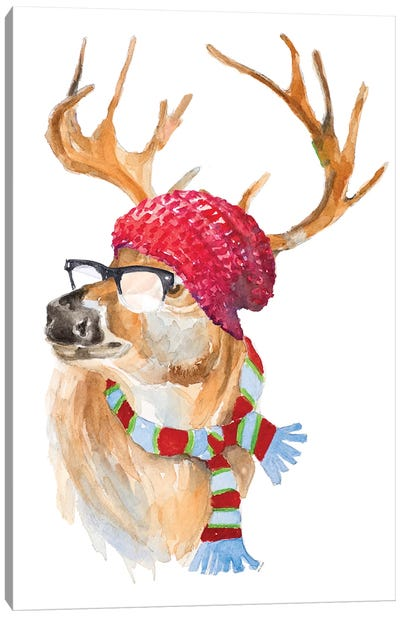 Winter Fun Deer Canvas Art Print