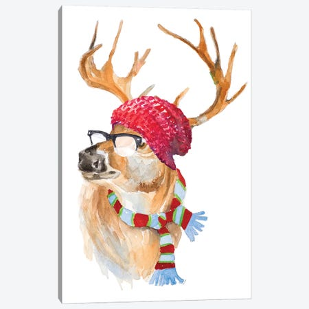 Winter Fun Deer Canvas Print #LNL271} by Lanie Loreth Canvas Art