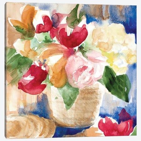 Bright Flower Basket Canvas Print #LNL285} by Lanie Loreth Canvas Wall Art
