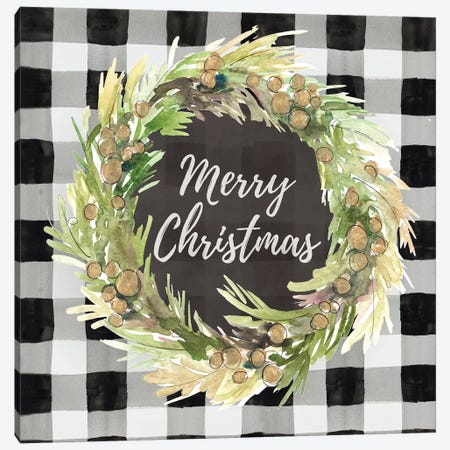 Buffalo Plaid Christmas Wreath Canvas Print #LNL286} by Lanie Loreth Canvas Artwork