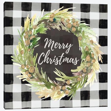 Buffalo Plaid Christmas Wreath Canvas Print #LNL286} by Lanie Loreth Canvas Artwork