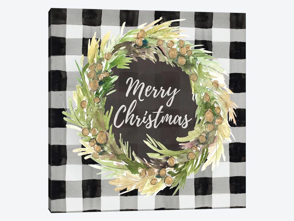 Buffalo Plaid Christmas Wreath by Lanie Loreth 1-piece Canvas Art Print