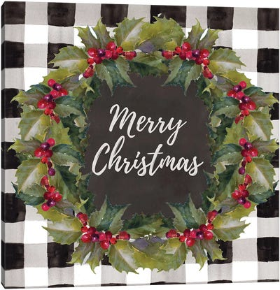 Buffalo Plaid Christmas Wreath Canvas Art Print
