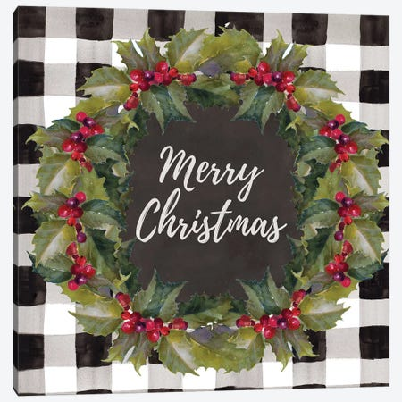 Buffalo Plaid Christmas Wreath Canvas Print #LNL287} by Lanie Loreth Canvas Artwork