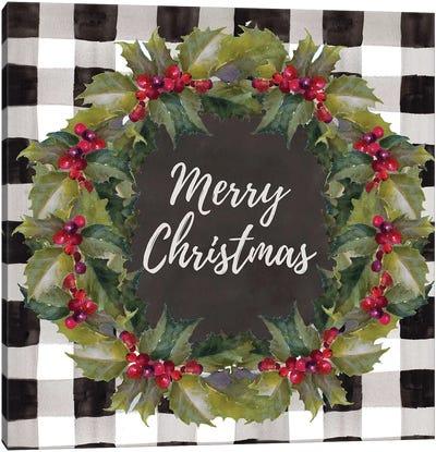 Buffalo Plaid Christmas Wreath Canvas Art Print